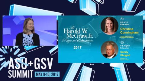 Dr. Christine Cunningham on a panel at the ASU + GSV Summit 2017.